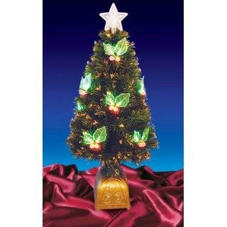 Pre Lit LED Color Changing Fiber Optic Christmas Tree with Holly