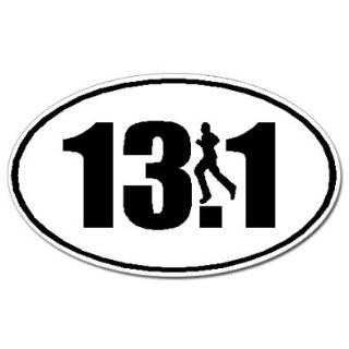 26.2 Marathon Runner Euro Oval Car Decal / Sticker   Black
