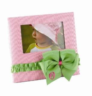 Pie Baby Girl Pink Initial Pin Striped Fabric Photo Frame, Letter O