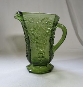 Vintage Anchor Hocking Green Glass Milk Pitcher Grape and Leaf