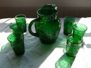 Vintage Anchor Hocking Forest Green Sandwich Glass Juice Pitcher and 6 Glasses