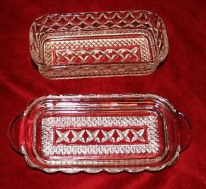 Vintage Glass Anchor Hocking Fire King Wexford Butter Dish Collectible Glassware