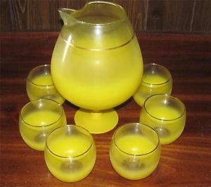 Vtg Anchor Hocking Cocktail Set Frosted Yellow Glass Pitcher 6 Glasses