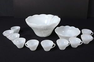 Milk Glass Anchor Hocking Harvest Grape Punch Bowl Set w Pedestal 10 Cups Hooks