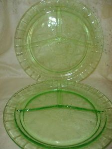 Green Depression Glass Grill Plate