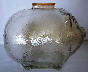Vtg Large Carnival Iridescent Marigold Glass Piggy Bank Anchor Hocking Textured