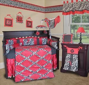 Baby Boutique Hot Pink Zebra 13 Pcs Baby Girl Crib Nursery Bedding Set