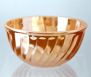 "8"" Vintage Anchor Hocking Fire King Peach Luster Mixing Bowl Milk Opaque Glass"