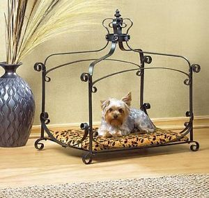 Royal Splendor Animal Print Velvet Jeweled Crown Metal w Fabric Pet Bed Dog Cat