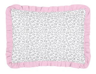 Sweet JoJo Designs Pink Grey Cheetah Animal Print Girl Kids Twin Bed Bedding Set
