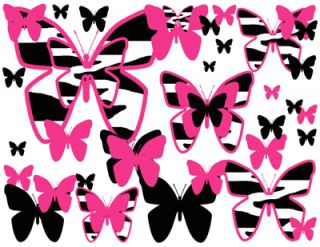 Zebra Butterfly Hot Pink Purple Turquoise Blue Green Teen Wall Border Stickers