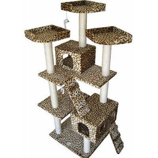 Condo House Scratcher Leopard Print 72 inch Cat Tree Furniture