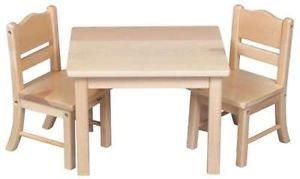 Baby Doll Table 2 Chair Set Hardwood Toy Furniture Wood Wooden Kids Childrens