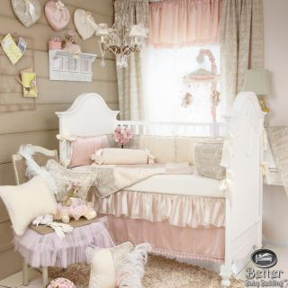 Glenna Jean Baby Girl Pink Beige Shabby Chic Crib Nursery Best Quilt Bedding Set
