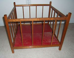 Vintage Baby Doll Play Pen Play Kids Toy Furniture Wood Wooden Childrens