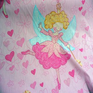 "Cotton Printed Children's Baby Girl Pink Heart Fairy Bedding Fabric 63"" x 39"""