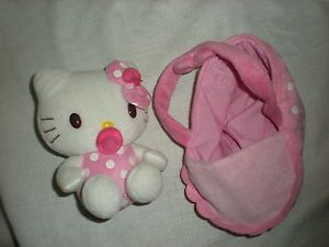 "Sanrio Hello Kitty Plush 5"" Pink Baby Pacifier Baby Carrier Stroller Set Soft"