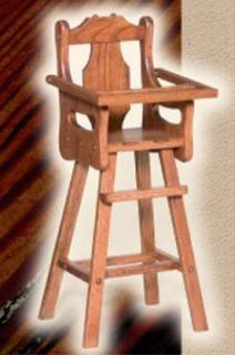 Amish Baby Doll Highchair High Chair Solid Wood Wooden Oak Toy Furniture New