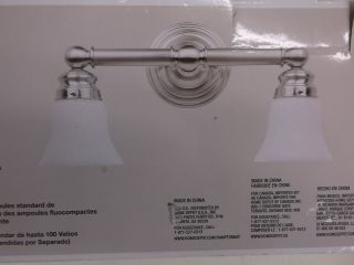Hampton Bay 2 Light Brushed Nickel Bath Vanity Light Fixture 469258 05380