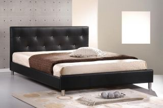 Modern Black Faux Leather Queen Platform Bed Frame Crystal Button Tufting New