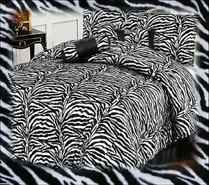 7pc Black White Zebra Animal Faux Fur Queen Comforter Bedding Set Bed in A Bag