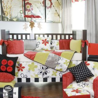 Baby Girl Black Red Green Modern Quilt Crib Nursery Collection Bedding Bed Set