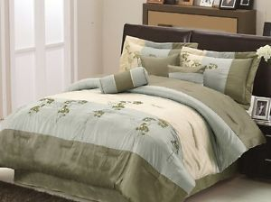 7pcs Aqua Beige Sage Green Embroidered Floral Comforter Set Bed in A Bag Queen