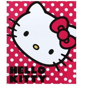 "Sanrio Hello Kitty Bedding Soft Warm Red Polka Dot Fleece Throw Blanket 45""X60"""