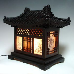 Wooden Art Shade Lantern Bedside Home Deco Oriental Asian House Table Lamp Light