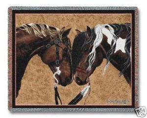 Two Horses Warriors Truce Tapestry Blanket Afghan Throw