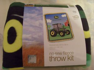 John Deere No Sew Fleece Throw Kit Blanket