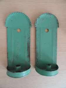 Antique Pair of Painted Tin Candle Wall Sconces Pennsylvania C 1840