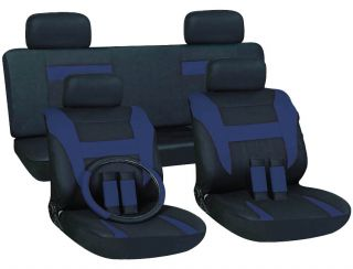 16pc Set Blue Black Auto Car Seat Covers Free Steering Wheel Belt Pad Head Rests