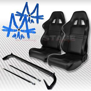 2X Leather Type 1 Racing Seat Harness Bar Blue 6 PT Camlock Belt 240sx Eclipse