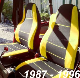 Jeep Wrangler 1987 89 Neoprene Front Rear Full Set Car Seat Cover Yellow YJ89