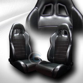 Universal SP Black PVC Leather Car Racing Bucket Seats Slider Pair for VW Volvo