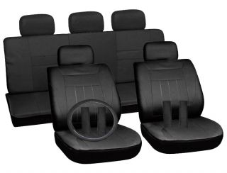 15pc Set Solid Black Auto Car Seat Covers Free Steering Wheel Belt Pad Head Rest