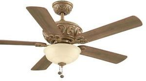 "Hampton Bay Palisades 52"" Ceiling Fan with Light Kit Tuscan Bisque Finish"