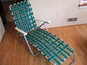 Vintage Aluminum Folding Chaise Lounge Lawn Chair