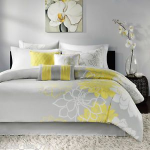 New 7 Piece King Comforter Set Yellow Floral Gray White Modern Flowers Bedding
