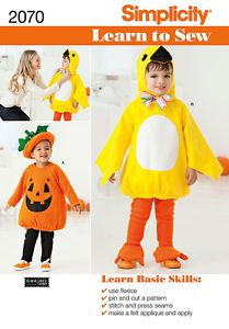 Simplicity Sewing Pattern 2070 Bird Pumpkin Costumes Child Toddler 1 2 4