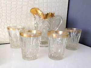 Stunning Antique American Brilliant Cut Glass Crystal Pitcher 4 Glasses Gold