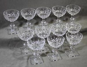 12 Antique Hawkes Crystal Cornwall Cut Glass Champagne Sherbet Glasses