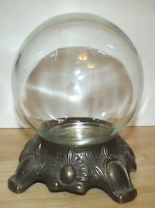 Glass Crystal Clear Fortune Tellers Globe Halloween Crystal Ball w Metal Base