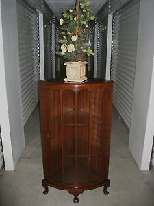 Antique English Walnut Corner Cabinet Bookcase Display Curio Cabinet