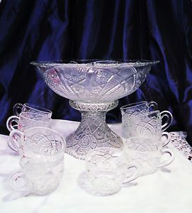 "Vintage Antique 13"" EAPG Punch Bowl Imperial Pedestal 12 Cups Indiana Glass"
