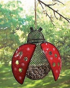 Ladybug Hanging Bird Feeder Yard Outdoor Garden Decor