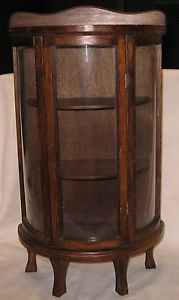 Vintage Wood Bow Curved Glass Table Top Curio Display Cabinet Case Feet 3 Shelf