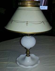 Beautiful Antique Table Lamp Milk Glass Base w Metal Shade Vintage Desk Lamp