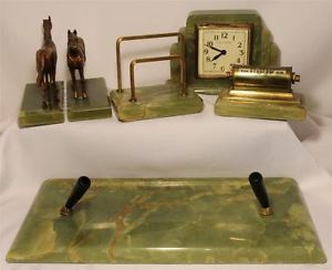 RARE 1930s Art Deco Green Onyx Desk Set Clock Pen Letter Calendar Bookends